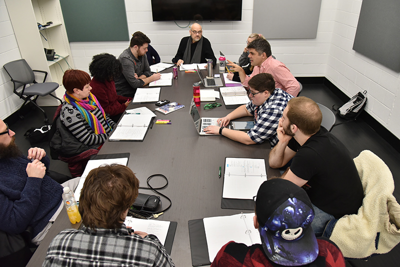 Cast and crew work on a pre-production group reading for Kill Shakespeare, a live performance of a popular graphic novel