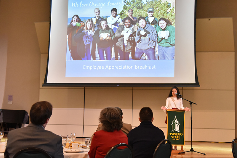 Monica Espada, senior class gift coordinator, served as emcee of the donor appreciation breakfast, thanking donors for supporting all of the scholarship programs that enable students to continue in their career paths