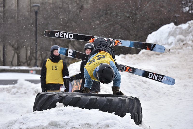 Students from the Oswego Ski and Snowboard Club like Jonathan Goodman found a number of ways to showcase their abilities and creativity during the Feb. 28 Rail Jam.