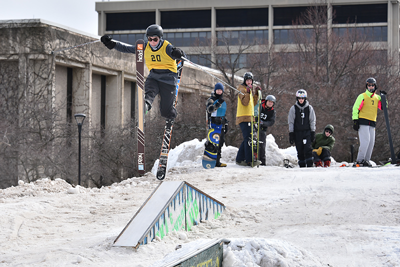Skier Quinn Ames takes flight from a ramp during this year's Rail Jam on Feb. 28.