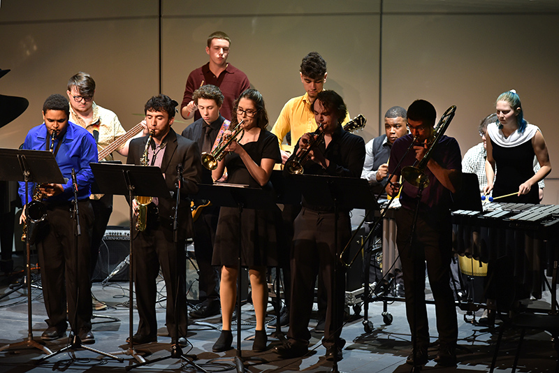Oswego State Latin Jazz Ensemble performs during Collage concert