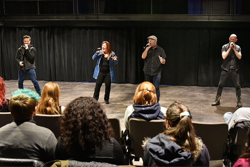 The internationally acclaimed New York City-based a cappella quartet Blue Jupiter, along with lead singer and former Oswego student Diana Preisler, gave a workshop and talk about their business March 6 in Tyler Hall's Lab Theatre