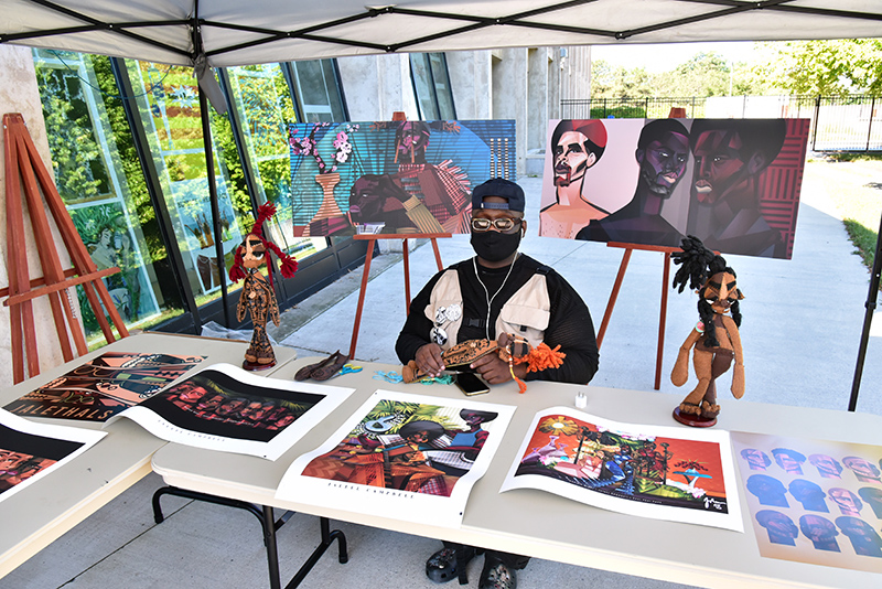entral New York artist Jaleel Campbell brought this to life on site with a collection of his digital illustrations and variety of cloth dolls.