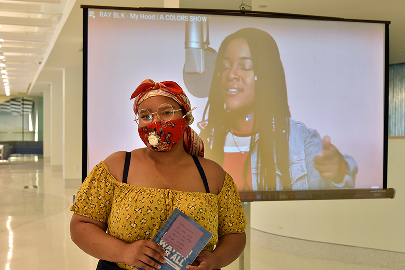 """Co-organized by students Samisha Elysee (pictured in Tyler Hall) and Tiffany Flores, the Aug. 20 """"Tour of Black Excellence"""" was among the highlights of Welcome Week"""