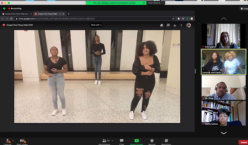 The sweet, soaring sounds of the college's Gospel Choir still participated in this year's ALANA Conference virtually, lending their voices to the Sept. 27 Peace Walk panel presentation.