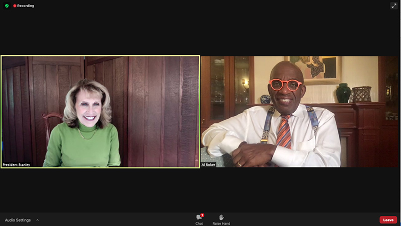 Al Roker and President Deborah F. Stanley lead a virtual campus discussion