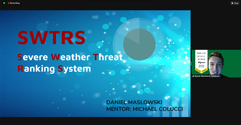 Dan Maslowski describes his first-place Launch It idea, the startup SWTRS (Severe Weather Threat Ranking System).
