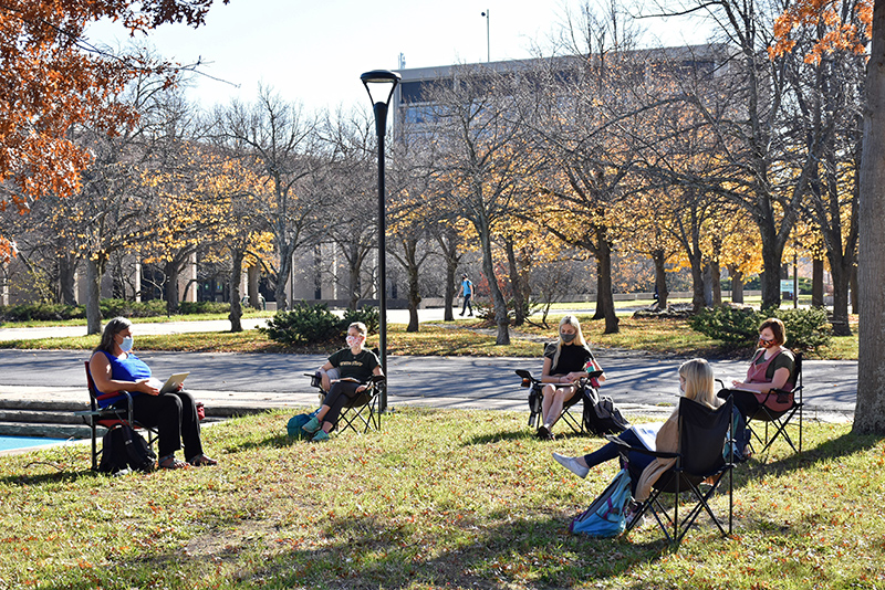 Political science professor Lisa Glidden has been among the faculty making use of outdoor teaching spaces this semester when the weather allowed, which was well into November.