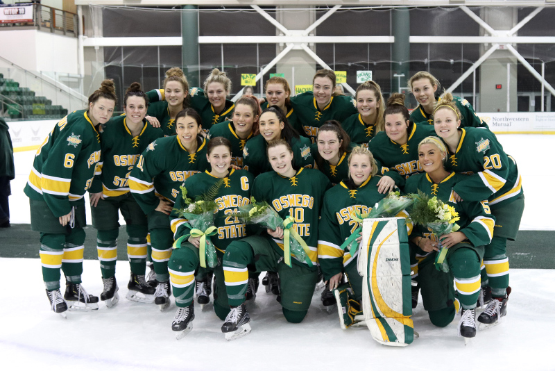 The Laker women's hockey team honored its seniors after a 3-2 home win over Buffalo State on Feb. 15.