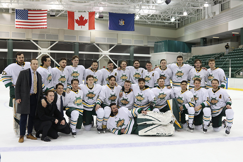 The Oswego men's hockey team recognized its seniors after a 4-1 win over Fredonia on Feb. 22.