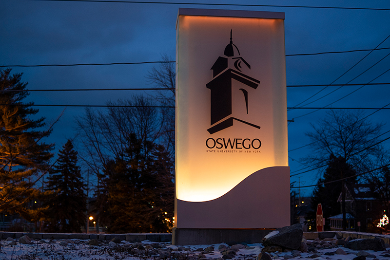 On Jan. 19, SUNY Oswego joined the nation in lighting up landmarks in amber hues to remember the more than 400,000 lives lost due to COVID-19.