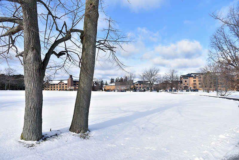 Last week's snowfall blankets the Lee Hall athletic field in this view toward Johnson and Riggs halls along the shore of Lake Ontario.