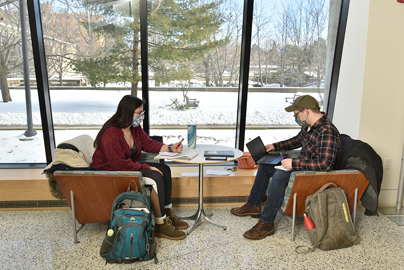 Taking advantage of one of these semi-private Oz Spots meeting and study areas open for use by anyone, this one in Tyler Hall lobby, are Floyd Bourgeois, an adolescence education major, and Halley Dellostritto, a studio art major