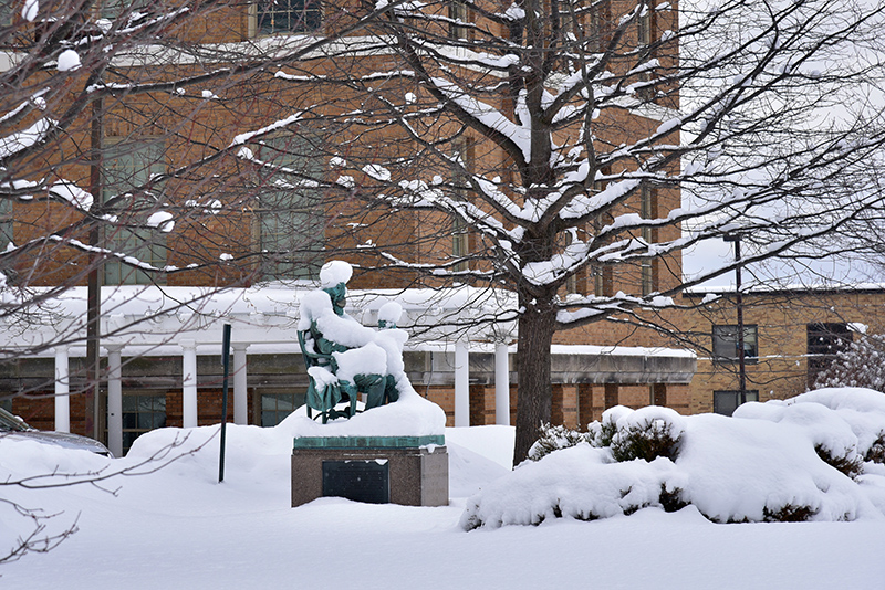 One of Oswego's first significant snows of the season drapes the Sheldon statue in snow Feb. 11