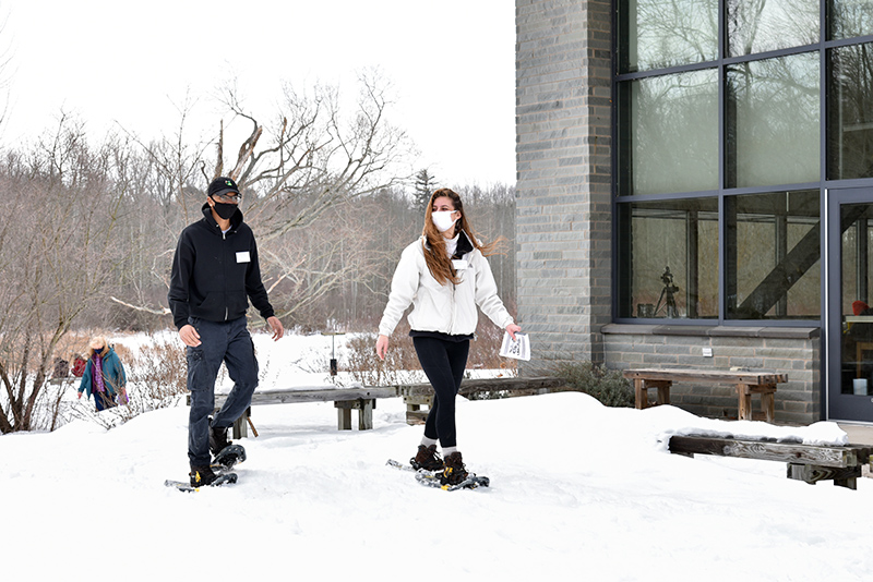 Self-guided snowshoeing was a featured activity Feb. 24 during the first Wellness Day at Rice Creek Field Station. Enjoying the outdoor experience are Matthew Broadnax, a freshman zoology major, and Nicole Rose, a junior zoology major and sustainability minor.