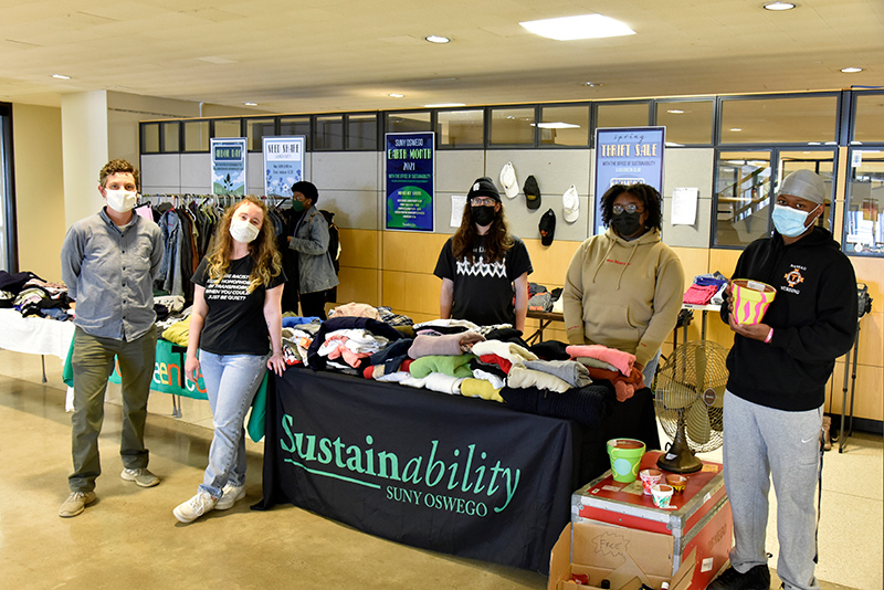 The Office of Sustainability hosted a small-scale thrift sale during Earth Month on Monday and Tuesday to give back to the campus community in the form of low-cost thrift clothing and facts on the benefits of partaking in slow fashion