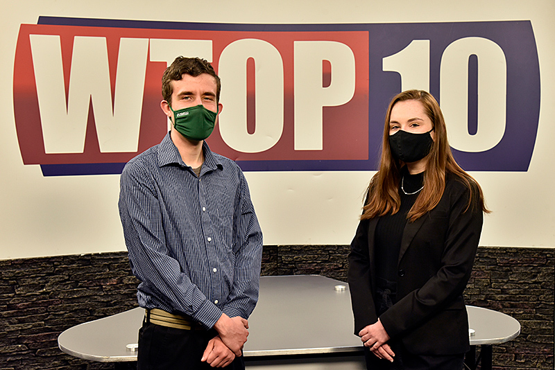 With responsibilities that included becoming the main way Laker sports fans could see games due to restrictions on live spectators, WTOP-10 TV recently passed its leadership baton from outgoing general manager and graduating senior Matt Green (left) to incoming GM Caroline Evans.