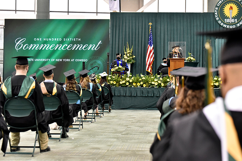 SUNY Oswego President Deborah F. Stanley expresses encouragement and praise for the students during her Charge to the Graduates at the May 14 Commencement.