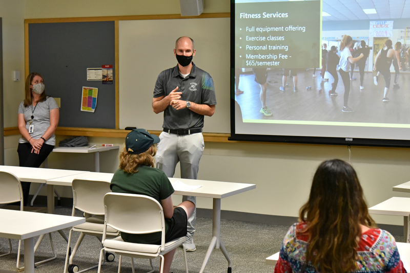 As part of the July 28 Summer Sophomore Orientation Program, Brian Wallace (pictured), manager of Campus Fitness Centers and an adjunct instructor, and Shelly Sloan (off camera), health promotion coordinator for the Dean of Students Office, talked to students about available campus health services and numerous fitness center opportunities.