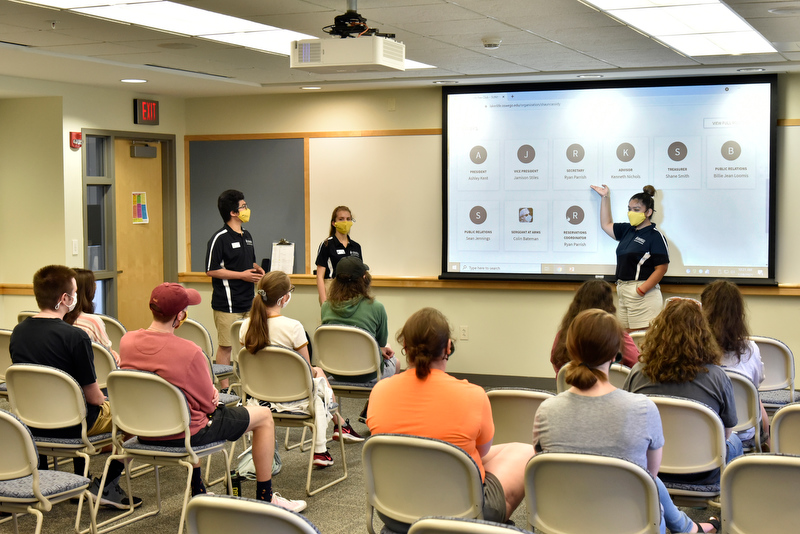 """Laker Leaders talk to an audience of fellow students July 28 during SUNY Oswego's first-ever Summer Sophomore Orientation Program about """"Getting Involved: Bring campus back to life,"""" which describes details of student involvement opportunities."""