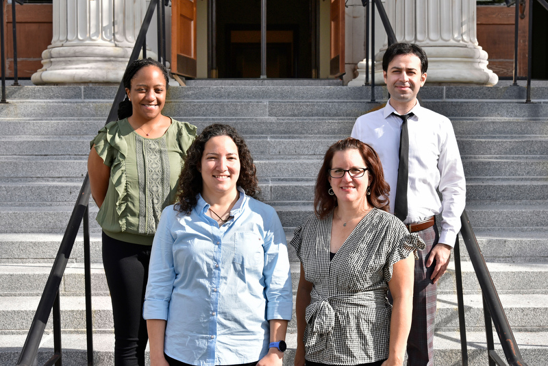 The college recently welcomed new tenure-track faculty who started in 2020-21 from the School of Business and the College of Liberal Arts and Sciences, as well as a PRODiG Fellow. In back from left are StaceyAnn Reid, PRODiG Fellow in psychology, and Mohammad Tajvarpour from marketing and management. In front from left are Vanessa Maike of computer science and Heather Losi of accounting, finance and law.