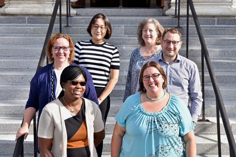 The college recently welcomed several new visiting assistant professors including, front from left, Genevieve Alorbi, economics, and Linda Paris, technology education. Middle row from left are Sarah Fleming, curriculum and instruction, and Steven Mzzoccone, theatre. In back are from left, Ah Ram Lee, counseling and psychological services, and Stacey Pope, curriculum and instruction.