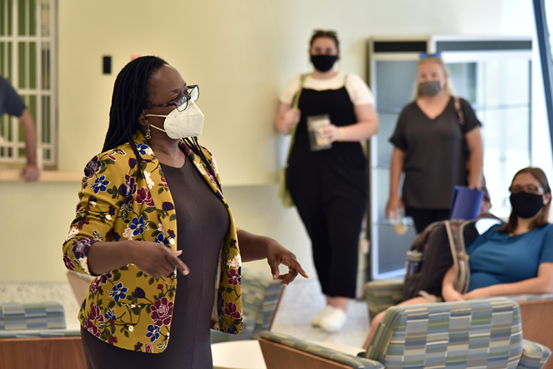 Artist in Residence Ellen Blalock talked to students and faculty Aug. 31 in Tyler Hall Lobby about her career and current projects as part of the college's Visiting Artist Program.