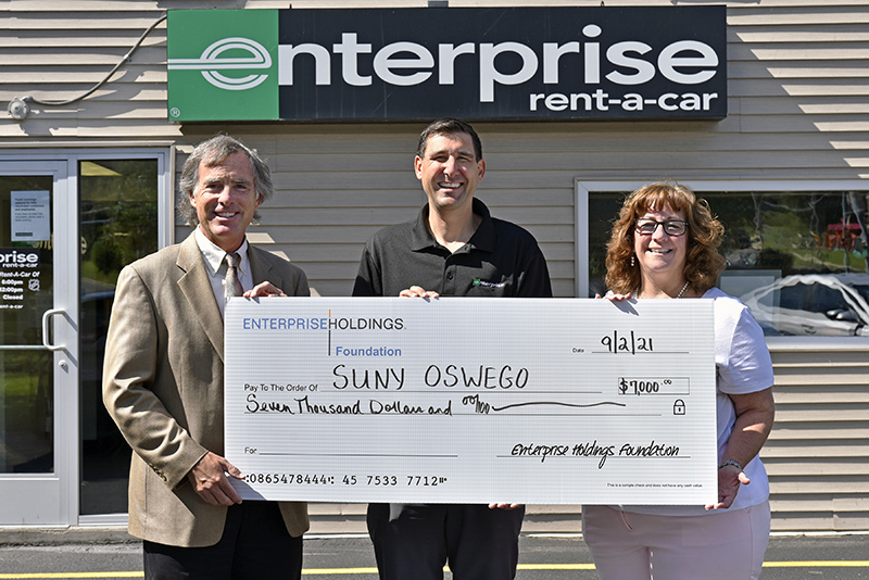 Enterprise Holdings Foundation presented a gift of $7,000 to support serving students via SUNY Oswego's Office of Career Services.