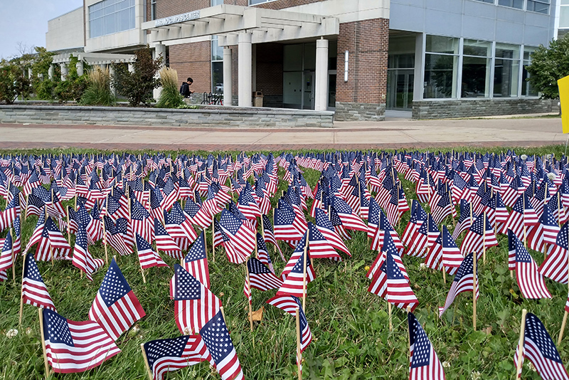 An annual display of American flags outside Marano Campus Center serves as remembrance of the 2,976 victims of the Sept. 11, 2001 terrorist attacks.