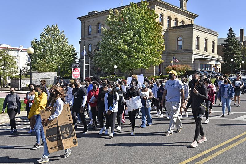 The ALANA Peace Walk on Sept. 26 began at Oswego City Hall with remarks followed by proceeding to Marano Campus Center