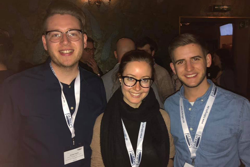 Oswego alumni who won Fulbrights meet up in Berlin