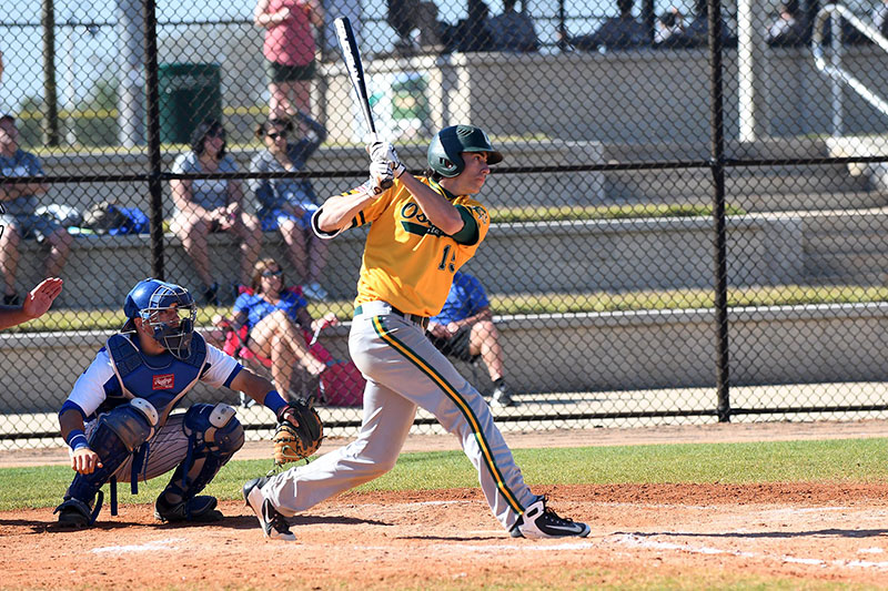 Outfielder Mike Dellicarri was outstanding hitting during baseball team's spring break travel