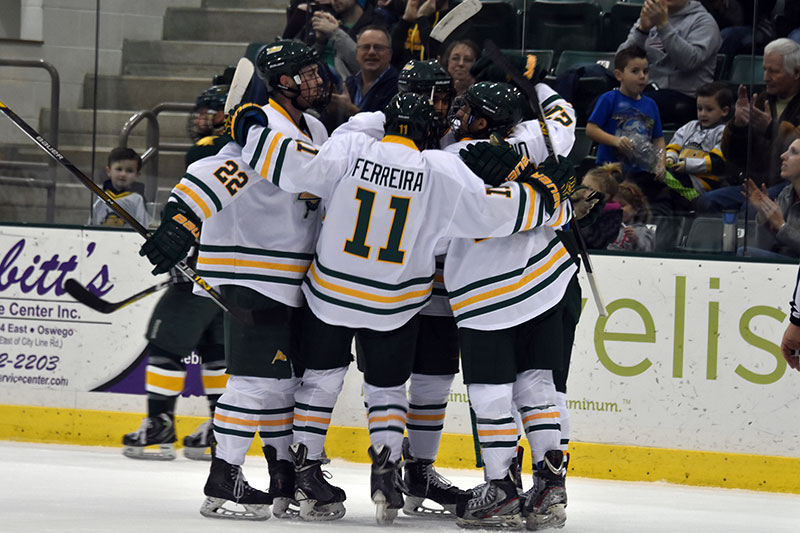 Laker men's hockey team celebrates