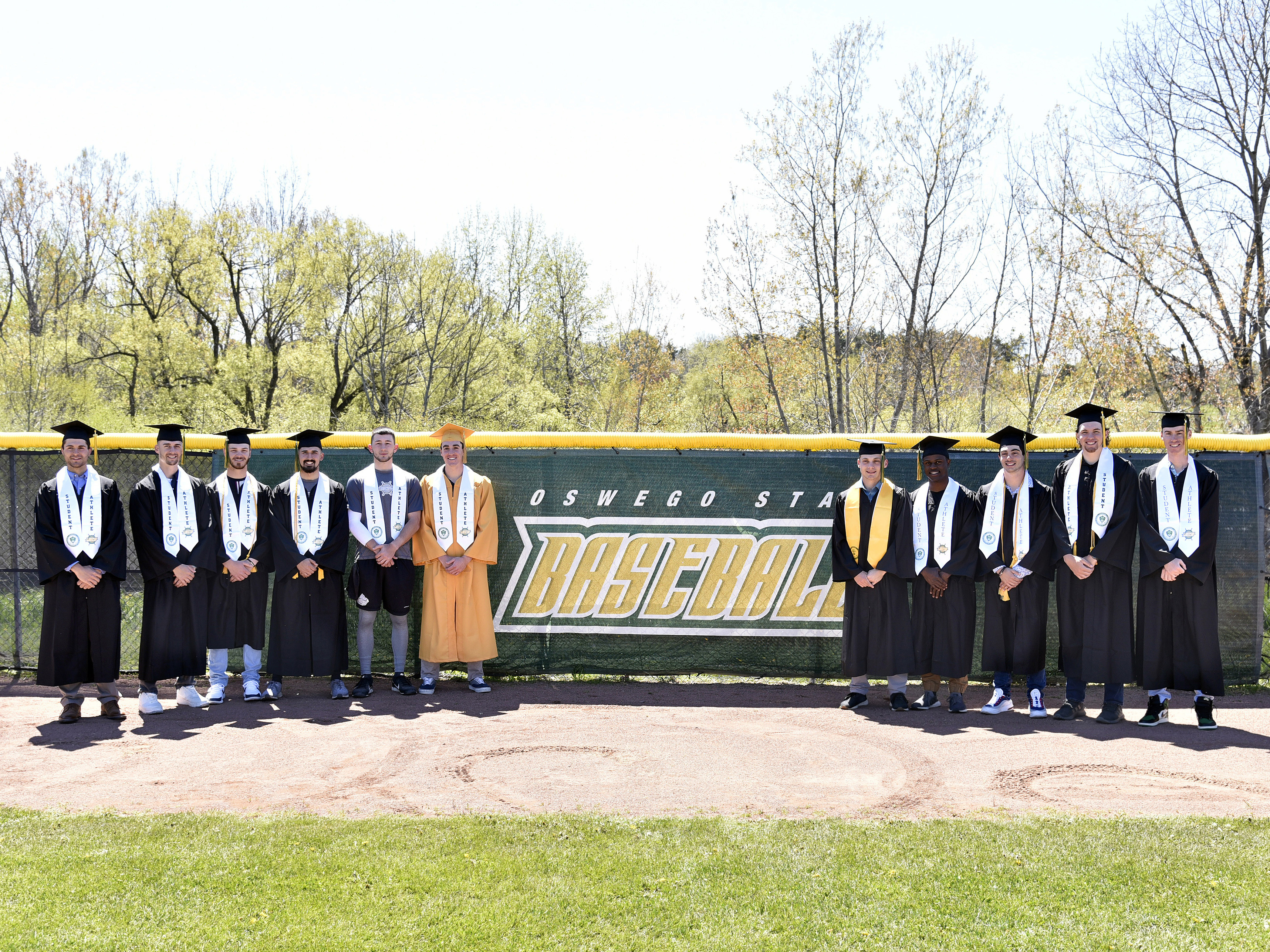 The nationally ranked Laker men's baseball team graduated several seniors swept Oneonta 8-2 and 11-4 to advance in the SUNYAC championship series on Commencement weekend.