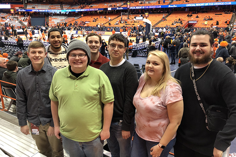 Students from broadcasting professor Mike Cleland's new Television Sports Production course had all-access passes to Syracuse University men's basketball game vs Wake Forest on Feb. 8