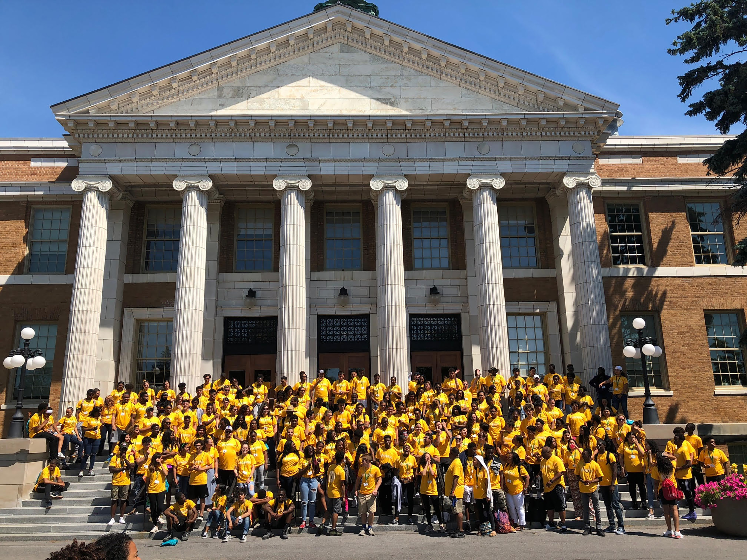 Camp College participants on steps of Sheldon Hall
