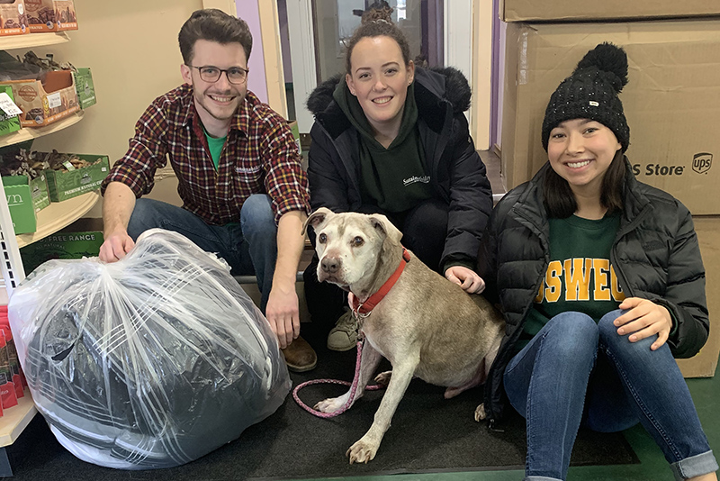 Sustainability Office interns donate blankets and pillows to Paws and Effect in Oswego