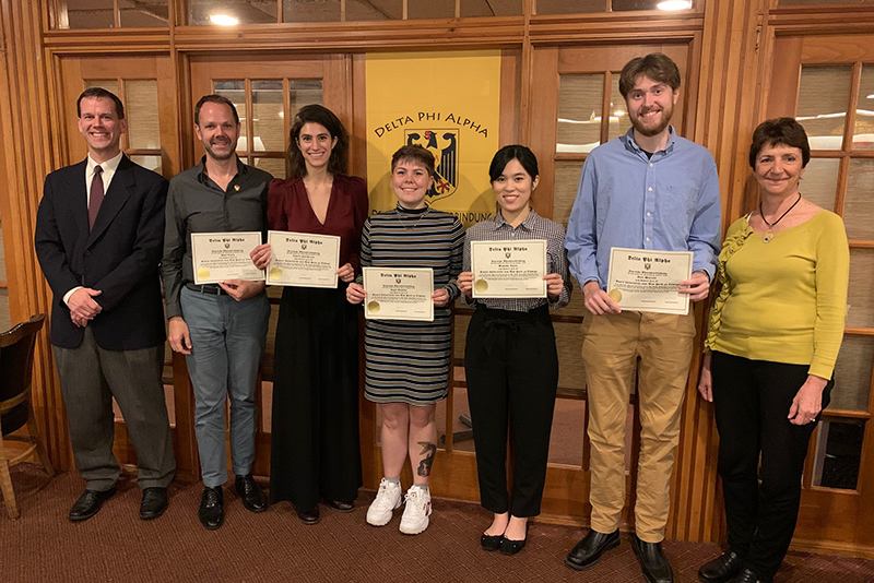 Three Oswego students and two employees were recently inducted into the SUNY Oswego chapter of Delta Phi Alpha, the National German Honor Society