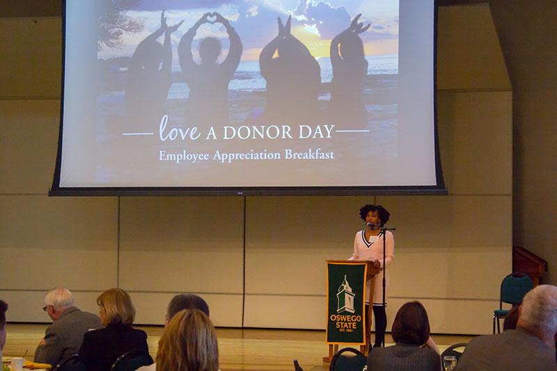 Skye Prosper, featured speaker at the Love-A-Donor appreciation breakfast