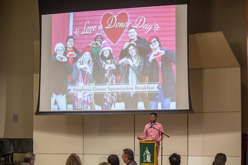 Kevin Damoah speaks at Love a Donor Day event