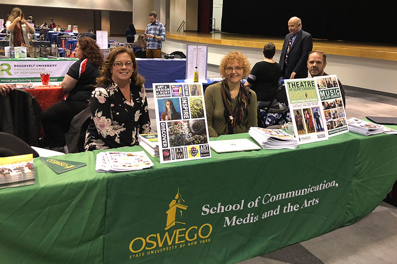 Faculty members in the arts take the opportunity Nov. 5 to interest future students in SUNY Oswego's School of Communication, Media and the Arts, at the National Association for College Admissions Counseling National Performing and Visual Arts Fair
