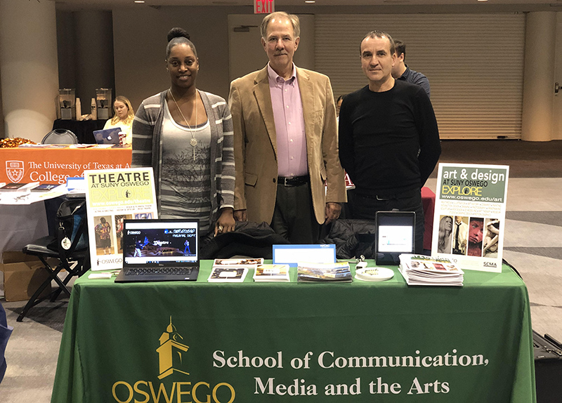 School of Communication, Media and the Arts faculty members represented SUNY Oswego to prospective students at the Nov. 11 college National Performing and Visual Arts Fair in New York City
