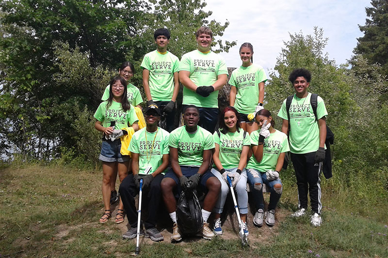 Student volunteers helped clean up Rice Creek trails