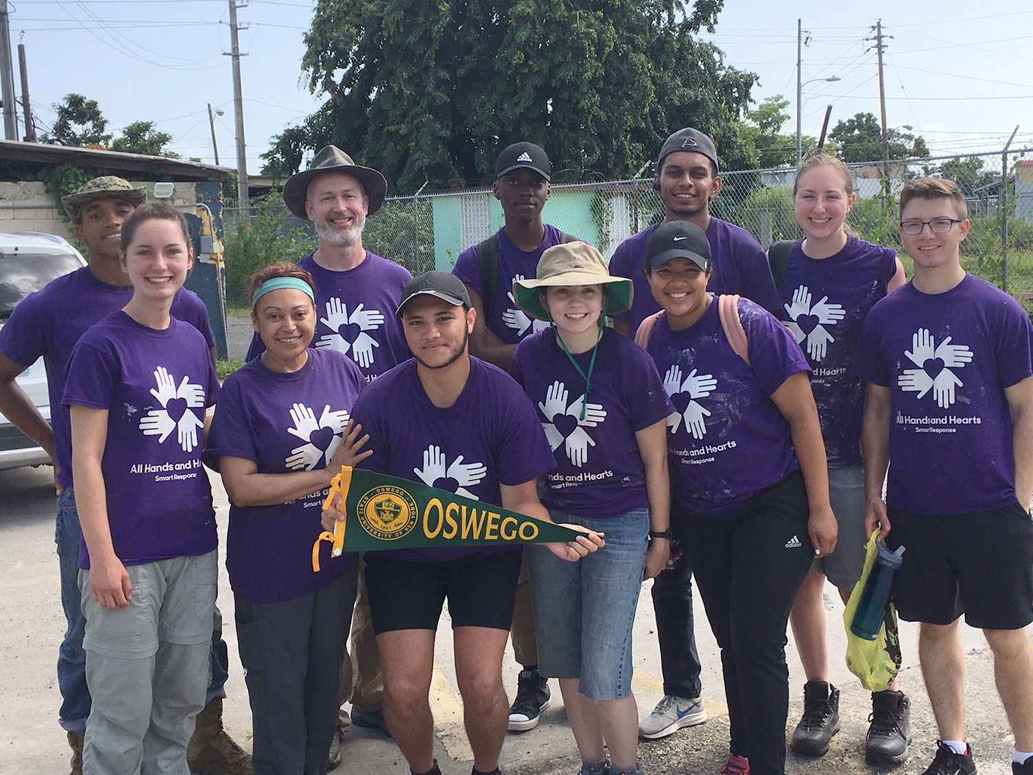 Oswego team members show pride while helping in Puerto Rico