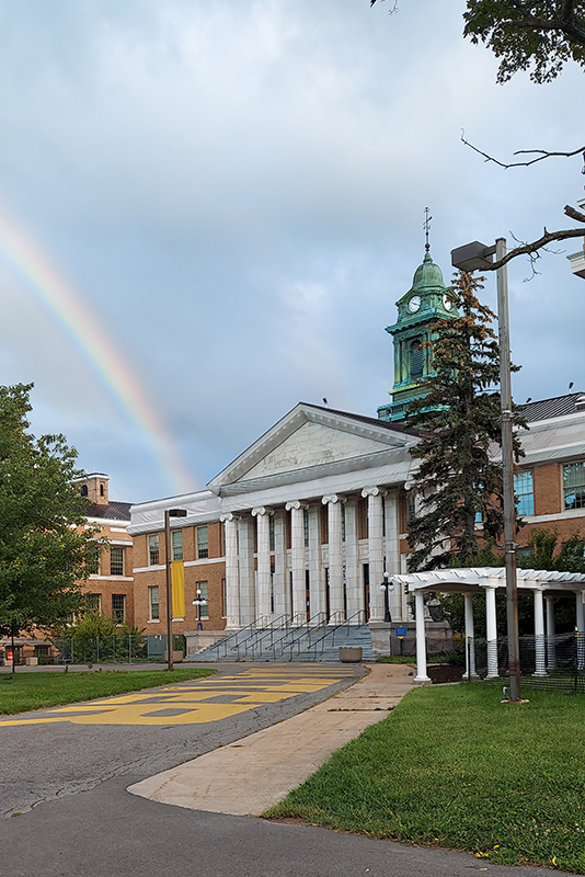 In addition to the many future students and families seeing Sheldon Hall and the Office of Admissions to explore the college, a rainbow visited the college's oldest building in this Sept. 7 photo from Jason Hy of the Division of Extended Learning.