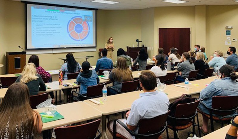 Curriculum and instruction faculty member Doreen Mazzye held a well-attended Teacher Residency Orientation with teacher mentors, building principals and resident teachers in the Syracuse City School District in early September at SUNY Oswego's Syracuse campus.