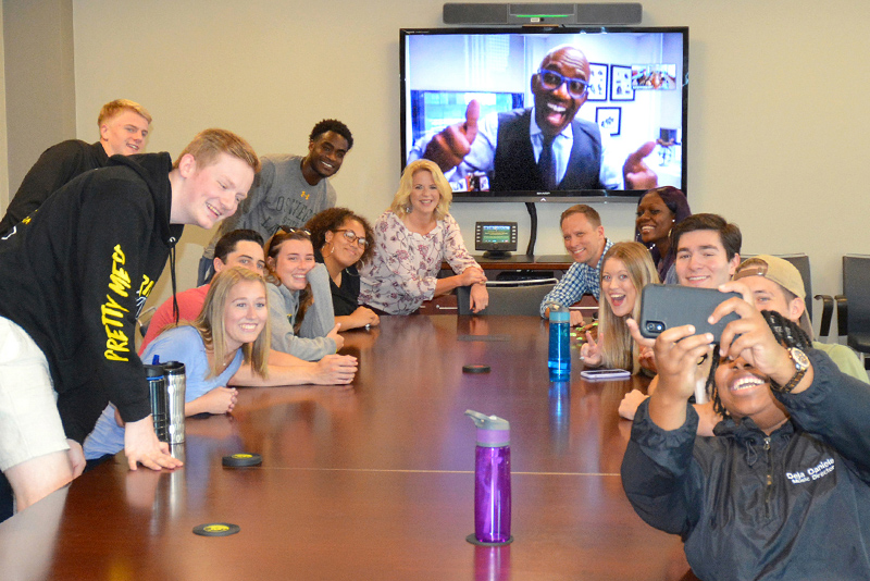 Students in BRC 497 class Camera Ready: Developing Your On-Air Persona take a group selfie with their teachers, who include Al Roker, the 1976 Oswego graduate who is the national weather anchor on NBC's Today