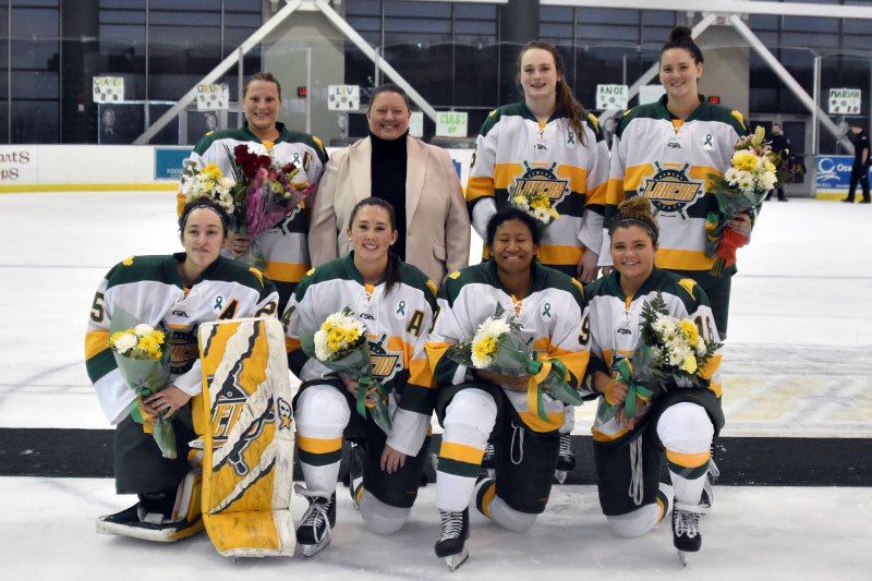 Women's hockey players honored on Senior Day
