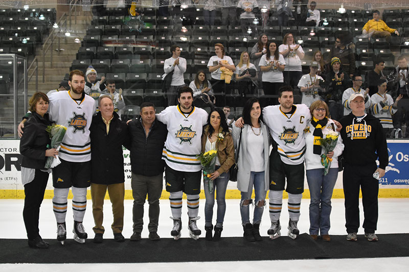 Men's hockey players honored on Senior Day
