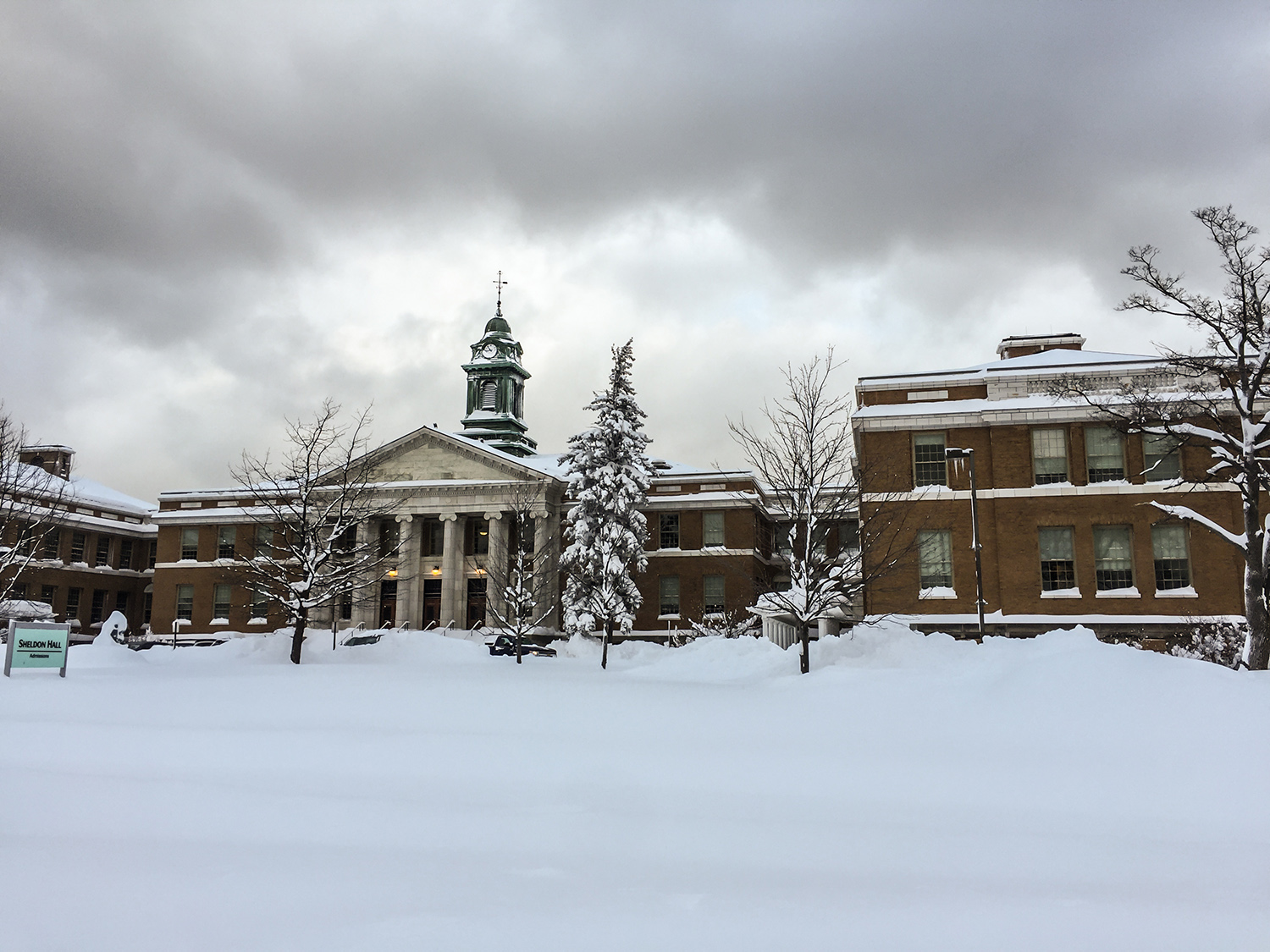 Sheldon Hall sits among snowy landscape